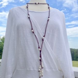 Leather and Pearl Wrap Tassel Necklace New